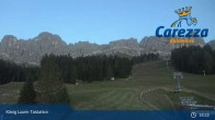 Archived image Webcam Welschnofen: View chair Lift King Laurin 19:00