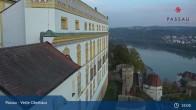 Archiv Foto Webcam Passau: Blick von der Veste Oberhaus auf Donau und Altstadt 19:00