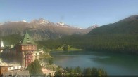 Archived image Webcam St. Moritz village Hotel Badrutt's Palace together with lake St. Moritz 08:00