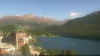 Archived image Webcam St. Moritz village Hotel Badrutt's Palace together with lake St. Moritz 10:00