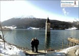 Archived image Webcam Lake Resia and the symbol of Venosta Valley 06:00