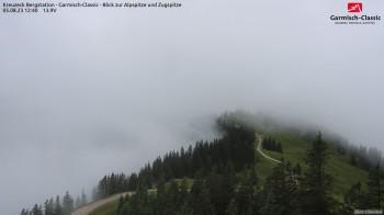 Bergstation Kreuzeck - Blick zur Alpspitze und Zugspitze