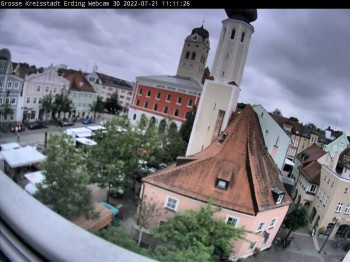 City center of Erding and the local city tower