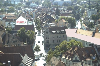View from the church to the town square in Zirndorf